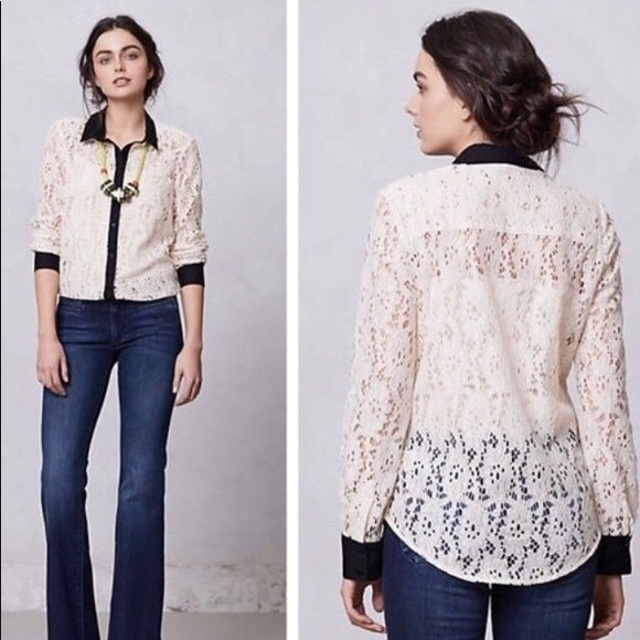 Anthropologie Tops - Vanessa Virginia Anthro Lace Button Up Top Blouse